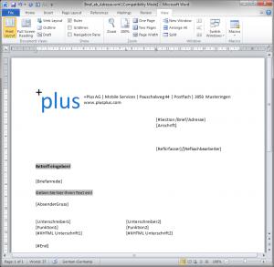 Screenshot eines DocGen Templates in MS Word